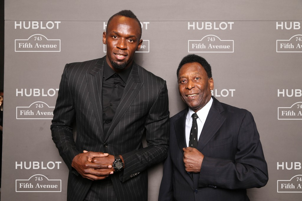 Usain Bolt and Pelé at Hublot 5th Avenue (NYC) Boutique Opening